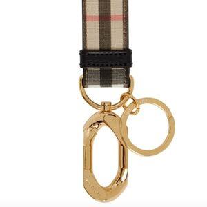 Beige Vintage Check Charm Keychain